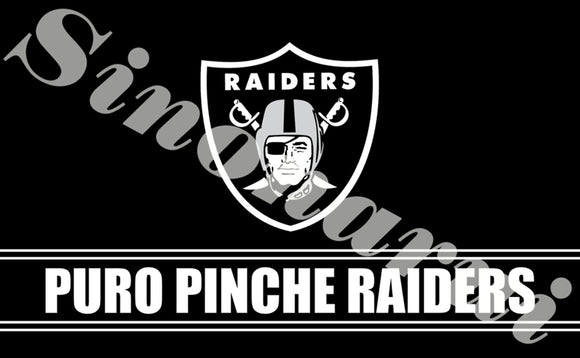 Puro Pinche Oakland Raider Banner Flag Custom Flags 90*150CM With White Sleeve Gromets