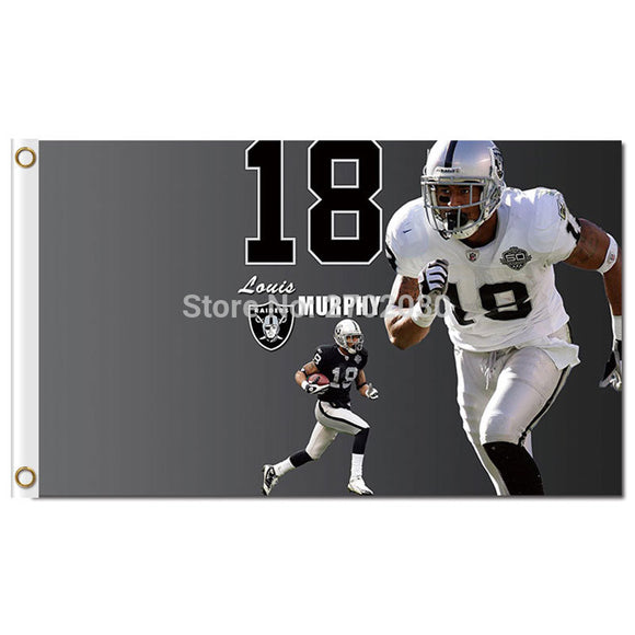 18 Players Athlete Sportsman Flag Oakland Raiders Banner Flag Jersey Helmet Banner 3ft X 5ft World Series Oakland Raiders Flag