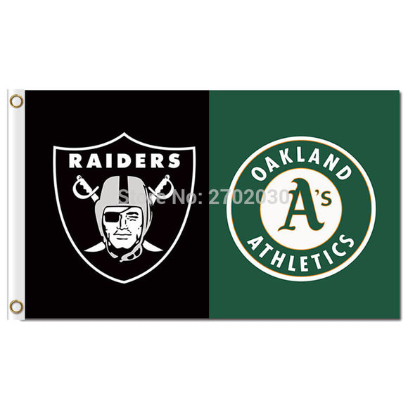 Oakland Raiders Flag Vs Okaland Athletics Flag And Banner Flying Custom Banners Super Fan World Series Oakland Raiders Flag