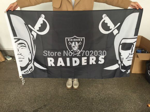 Oakland Raiders Flag 3ftx5ft World Series Banner 100D Polyester Premium Team Flag Metal Grommets Oakland Raiders Flags