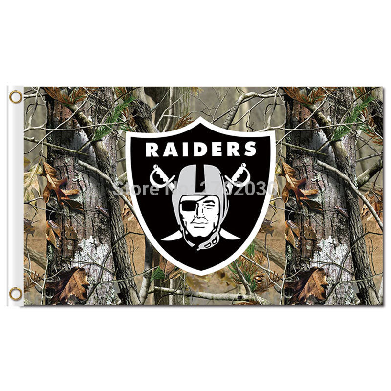 Oakland Raiders Jungle Camouflage Flag World Series Colors 3ft X 5ft Premium Team Oakland Raiders Jungle Camouflage Banner
