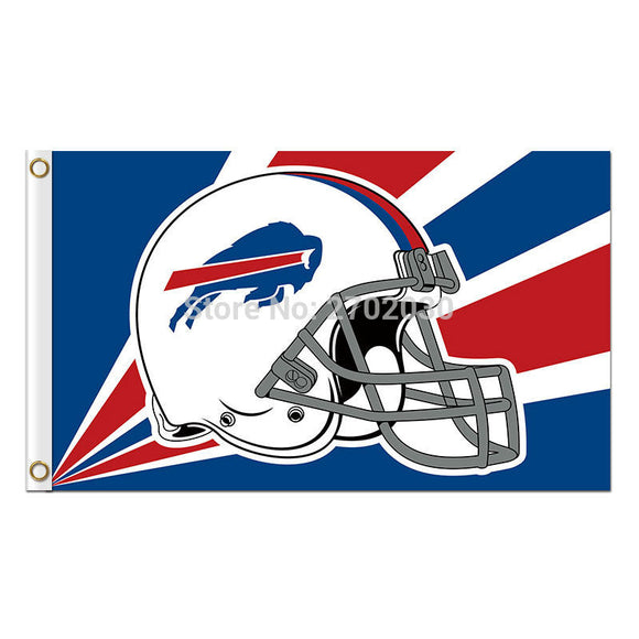 Helmet Buffalo Bills Mafia Flag Football Sport Fan Team Super Bowl Champions 3ft X 5ft 100D Blue Red Banner