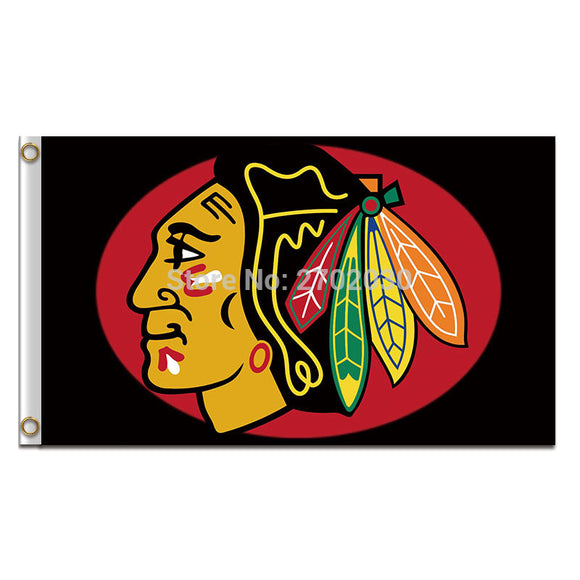 N*HL Chicago Blackhawks Flag Sport Hockey 3x5 FT 150X90CM Fan Banner 100D Polyester Flag Chicago Blackhawks Banner