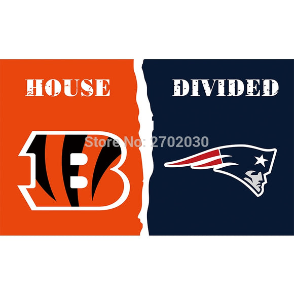 Cincinnati Bengals Flag Vs New England Patriots Super Bowl Champions Football Team Fan 3ft X 5ft Banner 100D Polyester