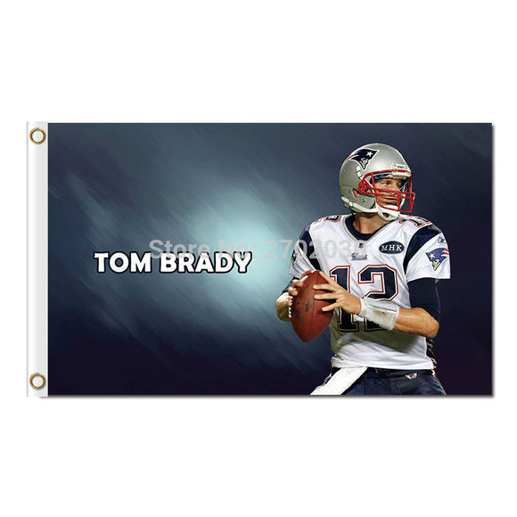 Tom Brady 12 New England Patriots Design Flag Football Banners 3ft X 5ft Banner Super Bowl Champions Custom Flag Nf*L Tom Brady