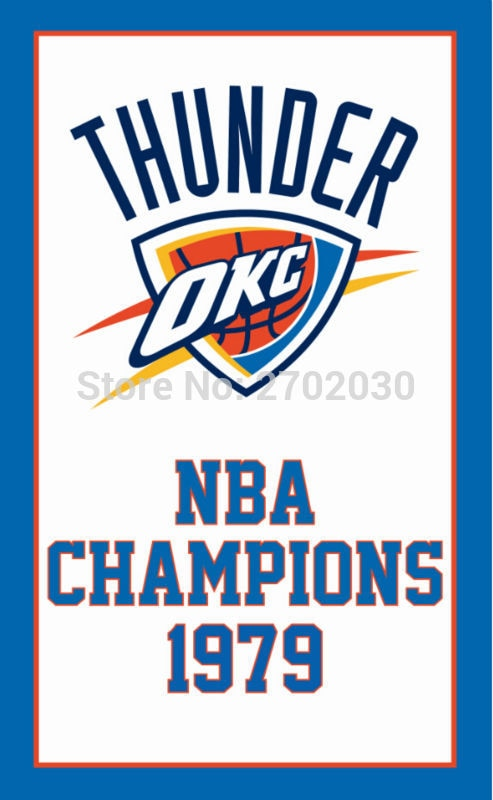 Oklahoma City Thunder Basketball customized Team  Flags Banners Home Deco 100D Polyester 3*5ft Metal Gromets Sleeve