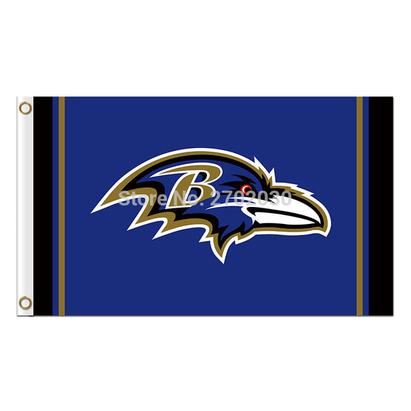 Blue B Baltimore Ravens Logo Flag Football Team Super Bowl Champions 90x150 Cm Polyester Printed Banner