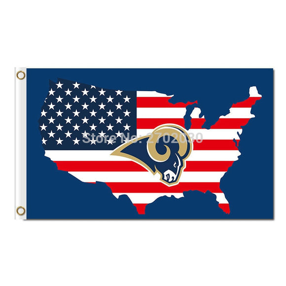 3x5ft Los Angeles Rams Team Stars And Stripes US Flag 100D Super Bowl Champions