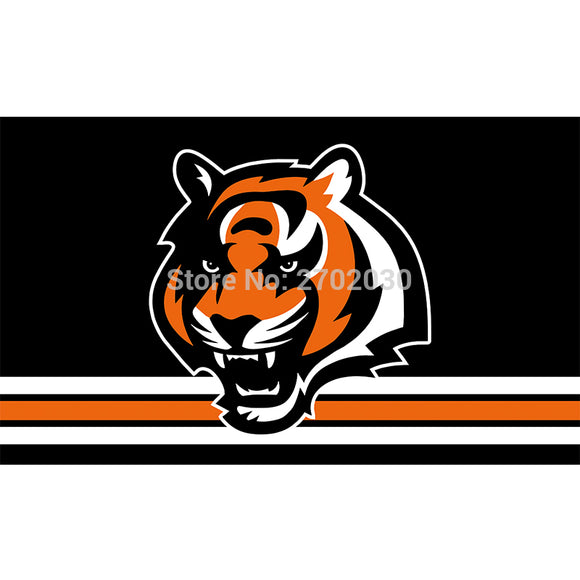 Black Strip Cincinnati Bengals Flag Super Bowl Champions Football Team Fan 3ft X 5ft Banner 100D Polyester