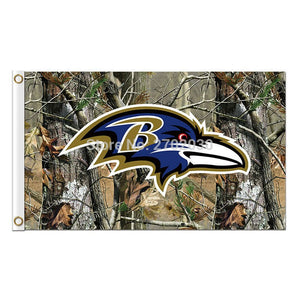 Jungle Camouflage Baltimore Ravens Flag Football Team Super Bowl Champions 3ft X 5ft 100D Polyester Printed Banner