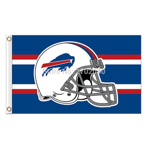 Helmet Buffalo Bills Mafia Flag Football Premium Team Super Bowl Champions 3ft X 5ft 100D Polyester Printed Blue Red Banner