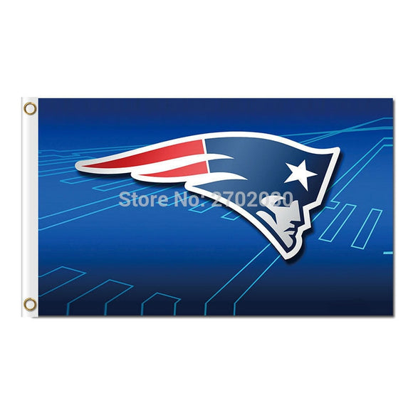 Blue New England Patriots Flag Premium Team Banners 3ft X 5ft Banner Super Bowl World Champions 100D Polyester Flag