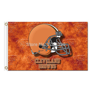 Helmet Design Cleveland Browns Flag Football Team Super Bowl Champions World Series Football Fan 90 X 150 Cm Banner