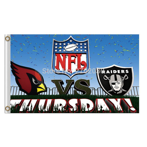 Yours Day Arizona Cardinals Vs Oaland Raiders Banner Flag NF*L World Series Football Team 3ft X 5ft Cardinals And Raiders Flag