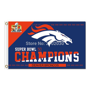 Denver Broncos Flag Super Bowl Champions 50 3x5 FT World Series Football Team Banner 100D Polyester Flag Brass Grommets