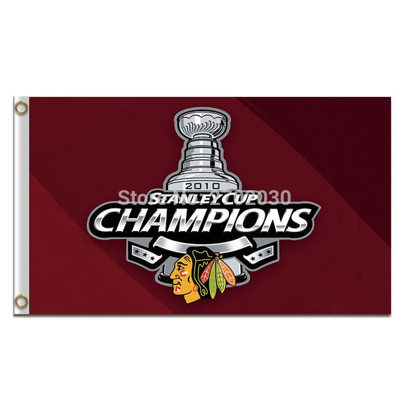 Champions Chicago Blackhawks Flag Hockey Team 3ft X 5ft Champions Chicago Blackhawks Banner Flag 100D Polyester