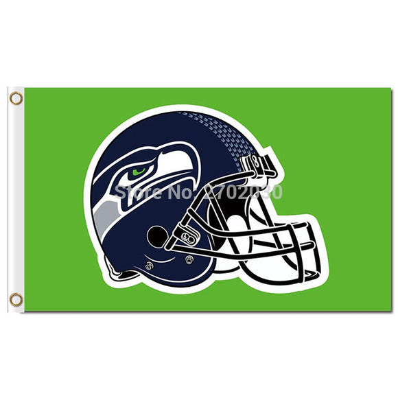 Green Background Seattle Helmet Flag World Series Football Team 3ft X 5ft Blitz Boom Seattle Banner Flag