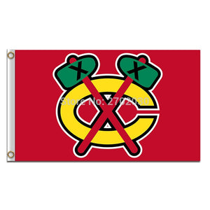 Chicago Blackhawks Flag Ice Hockey 3x5ft Banner 100D Polyester Custom Flag 150x90cm Chicago Blackhawks Banner Flag