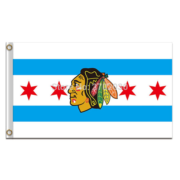4 Star White Chicago Blackhawks Flag 3x5ft Banner 100D Polyester Hockey Custom Flag 150x90cm Chicago Blackhawks Flag