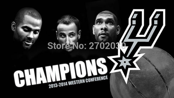 San Antonio Spurs Basketball Players Big Three Black 150X90CM Banner 100D Polyester Flags With Sleeve Metal Grommets