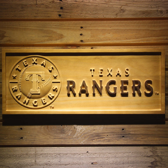 Texas Rangers 3D Wooden Sign
