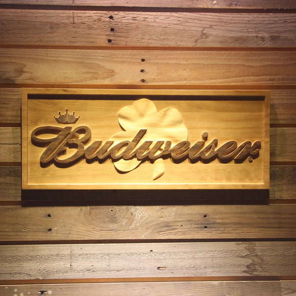 Budwesier Shamrock Beer 3D Wooden Bar Sign