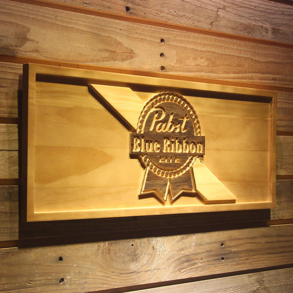 Pabst Blue Ribbon Beer 3D Wooden Bar Sign