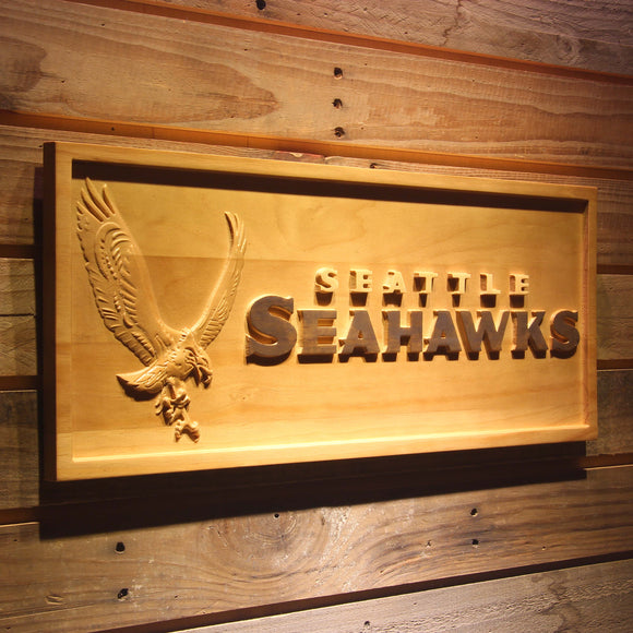 Seattle Seahawks 3D Wooden Bar Sign