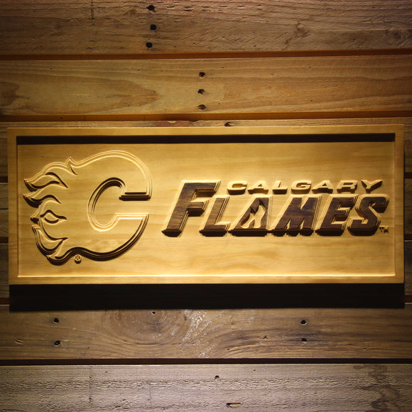 Calgary Flames 3D Wooden Sign