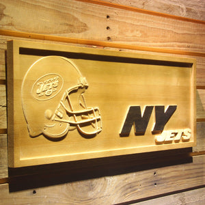 New York Jets Helmet 3D Wooden Bar Sign