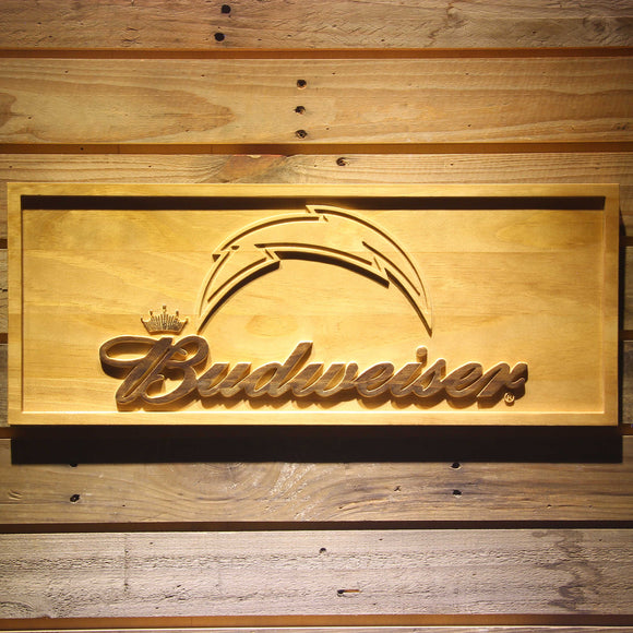 San Diego Chargers Budweiser Beer 3D Wooden Bar Sign