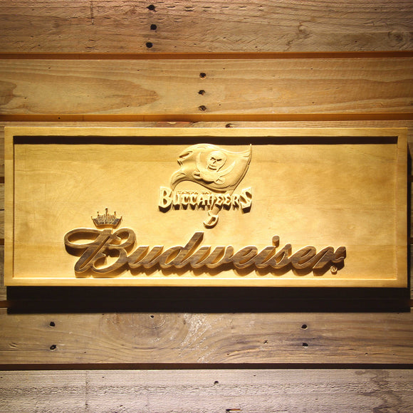 Tampa Bay Buccaneers Budweiser Beer 3D Wooden Bar Sign