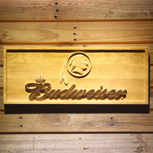 Washington Redskins Budweiser Beer 3D Wooden Bar Sign