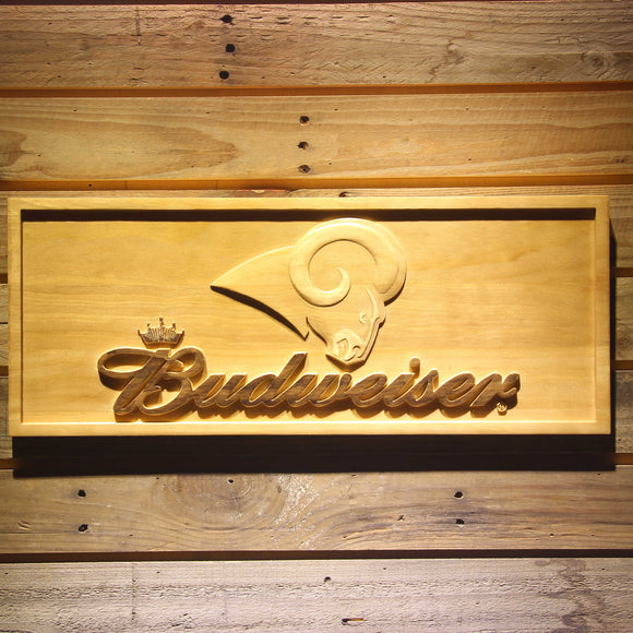St. Louis Rams Budweiser Beer 3D Wooden Bar Sign