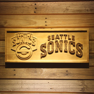 Seattle Supersonics 3D Wooden Sign