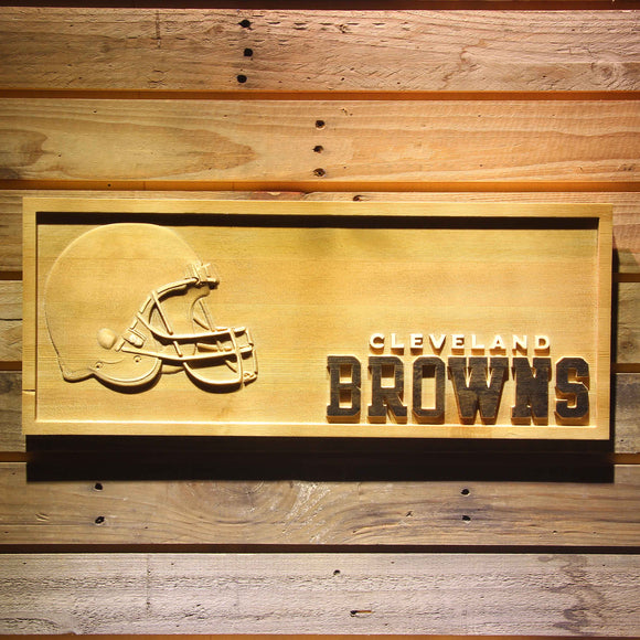 Cleveland Browns Helmet Beer 3D Wooden Bar Sign