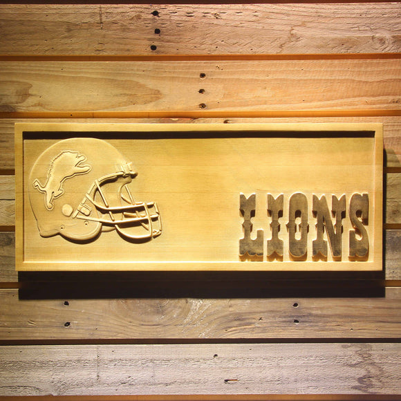 Detroit Lions Helmet 3D Wooden Bar Sign