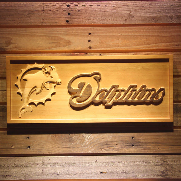 Miami Dolphins 3D Wooden Bar Sign