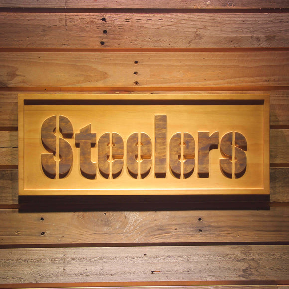 Pittsburgh Steelers 3D Wooden Bar Sign