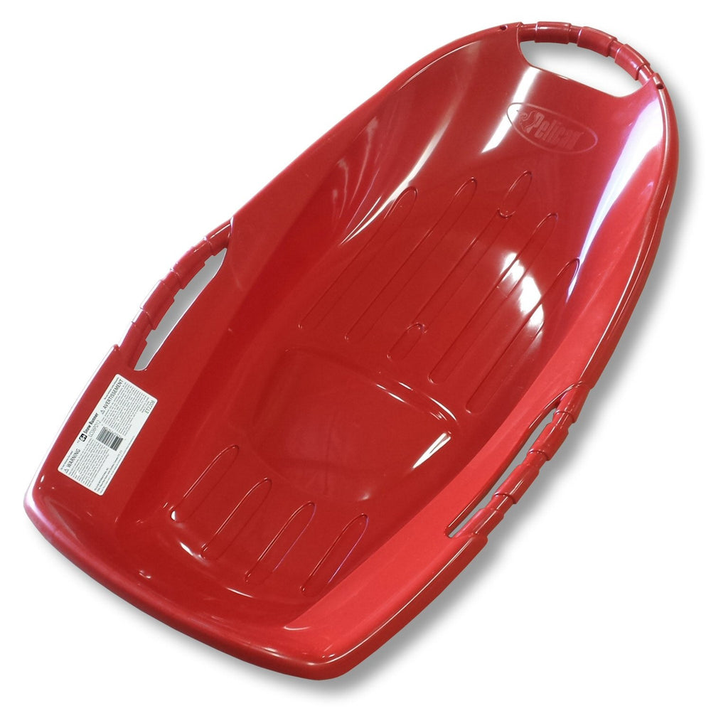 "Winter Sports and Snow Toys Snow Runner 36"" Red Plastic Snow Sled with Bottom Grooves - Grizzly Supply Co"