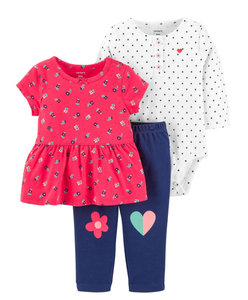 Infant Girl's 3PC Hearts Set