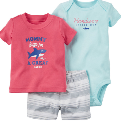 Boy's 3PC Shark Shorts Set w/Romper