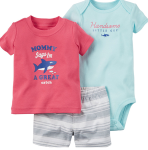 "Infant Boy's ""Great Catch"" 3PC Shorts Set"