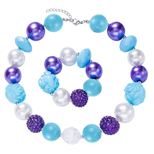 Girl's Chunky Purple & Blue Bubblegum Necklace Set