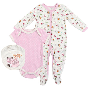 "Infant Girl's ""Daddy's Cutie""  3PC Coverall Set"