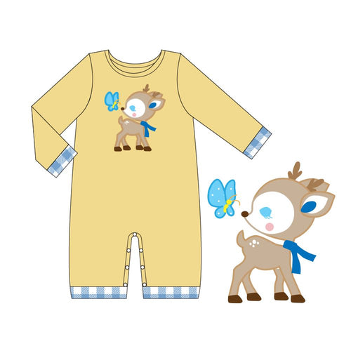 Infant Boy's Baby Deer & Butterfly Romper