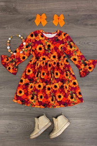 Fall Sunflower Twirl Dress