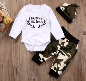"Boy's 3PC ""Oh Deer I'm Here"" Camo Pant Set"