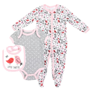 "Infant Girl's ""Little Sweetie""  3PC Coverall Set"