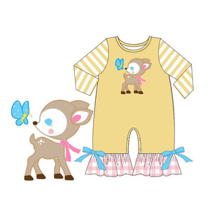 Infant Girl's Baby Deer & Butterfly Romper